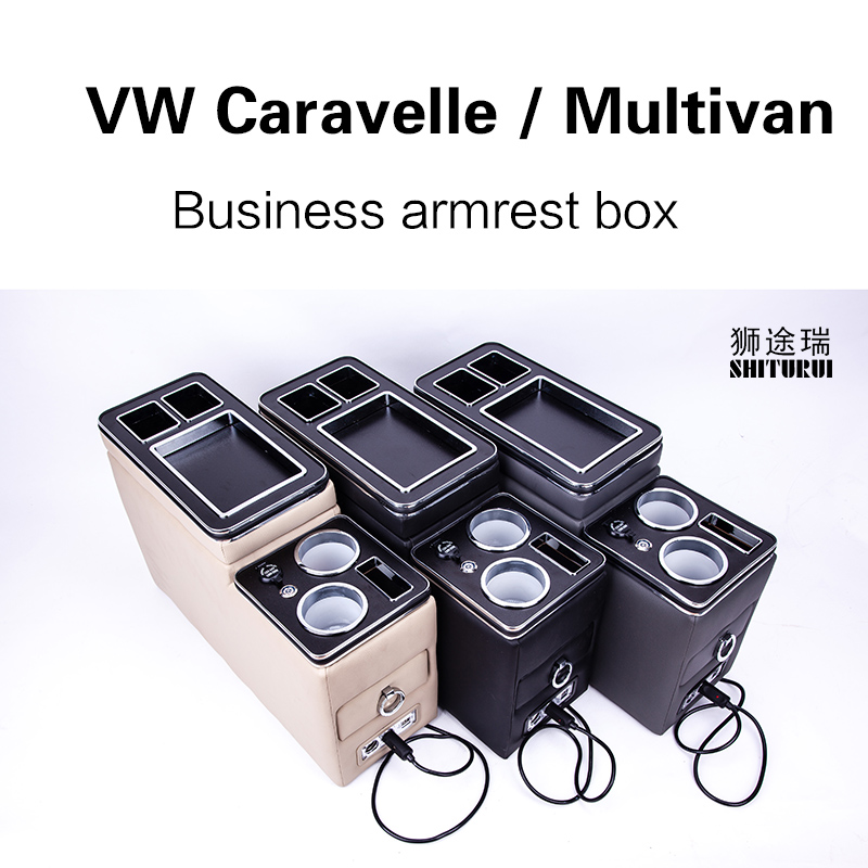 Pour V W Caravelle/Multivan T5 T6 rangée avant garde-corps boîte ensemble affaires générales accoudoir central magasin voiture d'affaires charge Mobile
