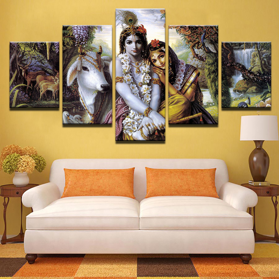 Canvas prints pictures for living room frame 5 pieces - Wall pictures for living room india ...