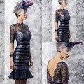 Черный кружево мать платья невесты длиной до колен мать невесты брючные костюмы vestido де madrinha ( MOTB-005 )