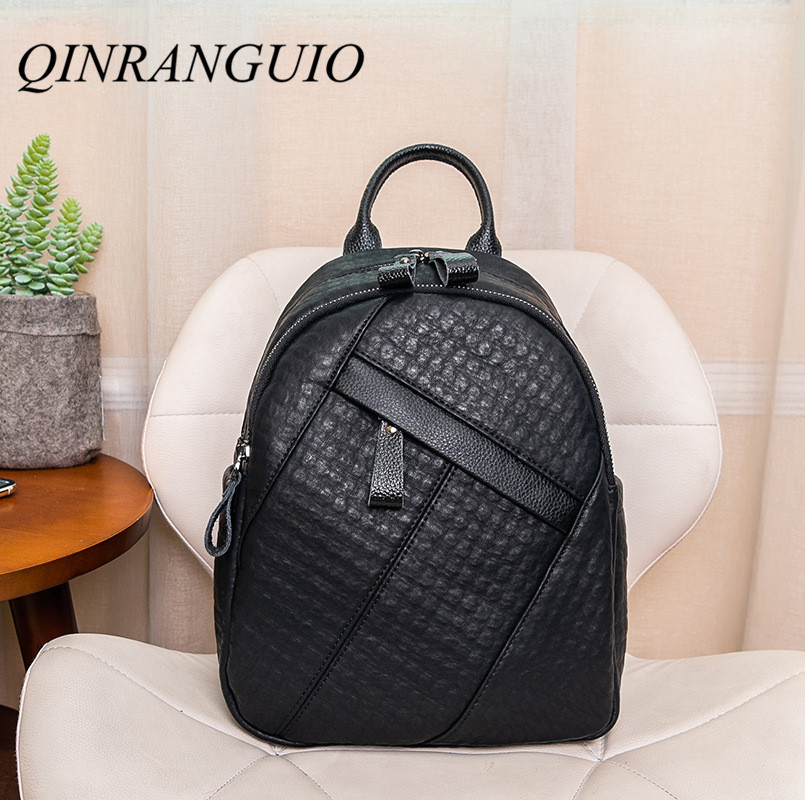QINRANGUIO Women Backpack Genuine Leather Backpack Women 2019 Anti Theft Backpack Large Capacity Casual School Bags For Teenage