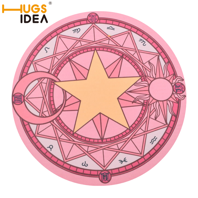 HUGSIDEA Pink Cartoon Sakura Magic Circle Doormat Kids Bedroom Play Round  Carpet Rugs Computer Chair Hanging