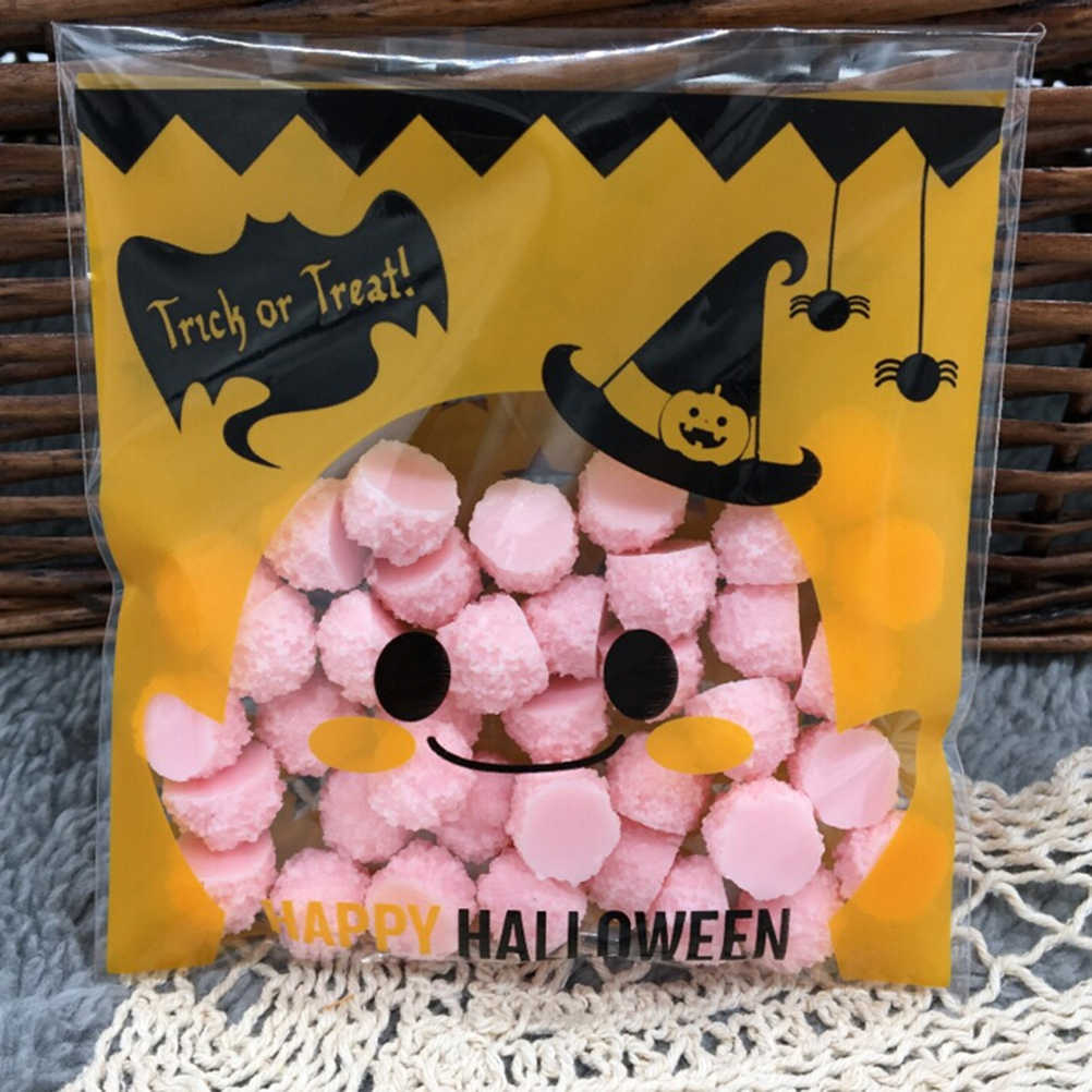 100 Dekorasi PcsHalloween Kuning labu Hadiah Tas Kemasan Tas Plastik Jelas DIY Permen Cookies Tas Pesta Ulang Tahun Kerajinan