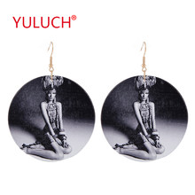 YULUCH Vintage wooden fashion woman earrings for round print black and white photo personality girl pattern pendant jewelry(China)