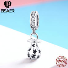 BISAER 925 Sterling Silver Charms Baby Pacifier Love Nipple Beads fit Child Bracelets DIY Silver 925 Jewelry Making Gift ECC891(China)
