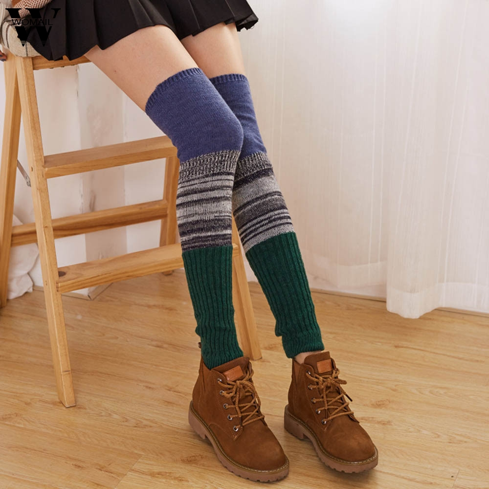 Womail Stockings Women 1 Pair Warm Wool Leg Warmers Knitted Crochet Stockings Sexy Long Fashion NEW 2019 Dropship M25