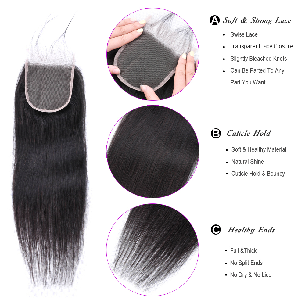 BEAUDIVA Brazilian Straight Hair HD Transparent Lace Closure Free/Middle/Three Part Remy Swiss Lace Human Hair 8-20 HD Closure