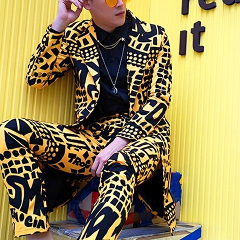 Men Slim Fit Blazer Yellow Suit Jacket Nightclub Stage Singer DJ Clothes Heren Colberts Long Casual Suits Blazer Masculino Islamabad