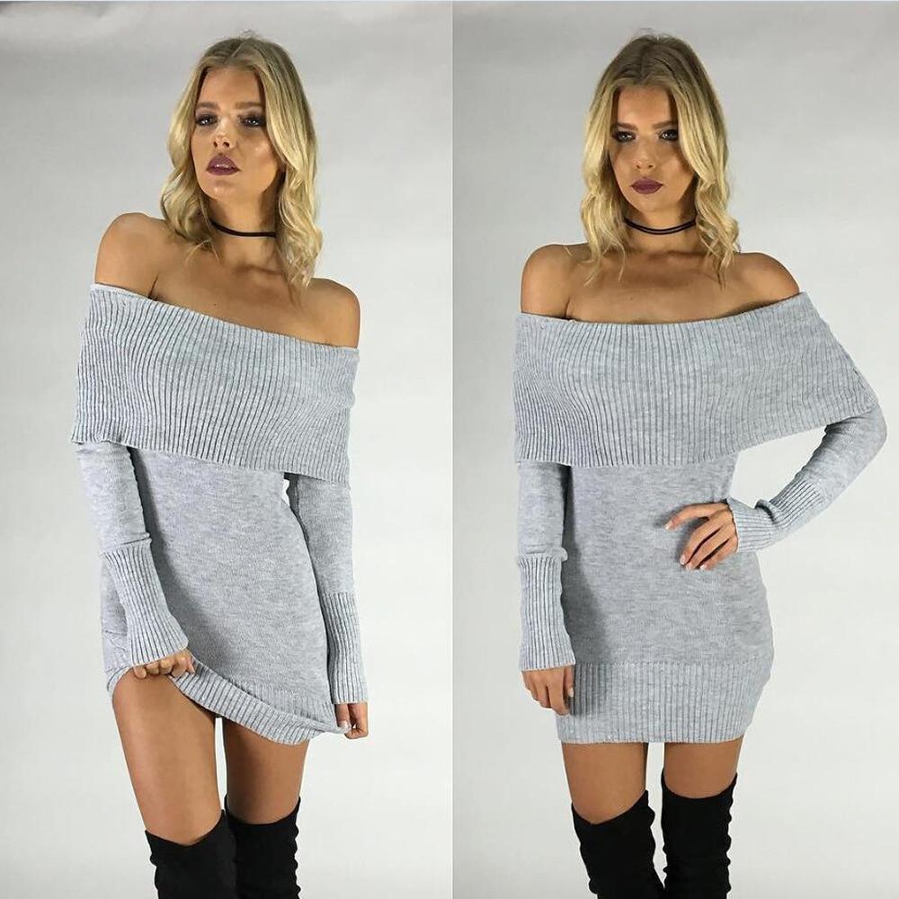 2018 new Fashion women autumn sexy elastic gray black long-sleeve knitting bodycon strapless mini sweater dresses Vestidos Curto