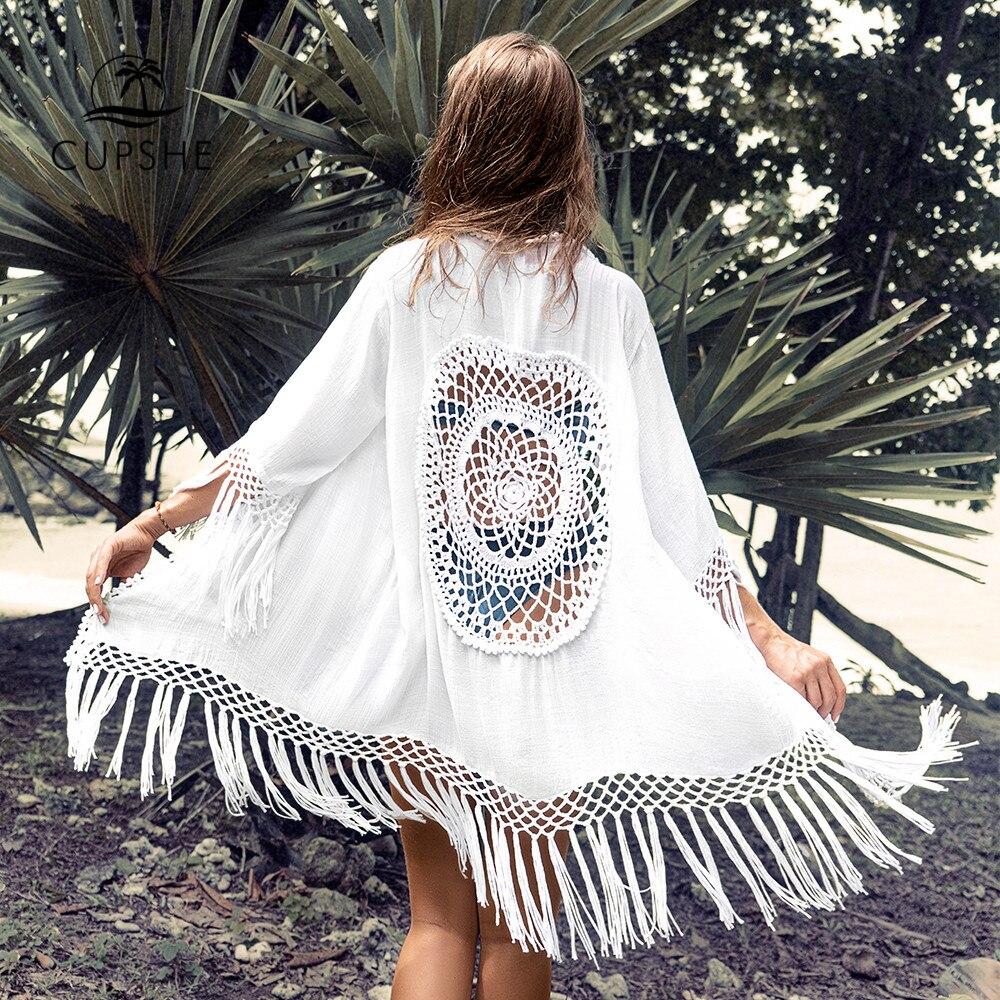 CUPSHE White Tassel Crochet Bikini Cover Up Sexy Back Cut Out Kimono Women 2020 Beach Bathing Suit Beachwear Tunic Shirt