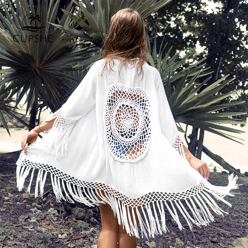CUPSHE White Tassel Crochet Bikini Cover Up Sexy Back Cut Out Kimono Women 2019 Beach Bathing Suit Beachwear Tunic Shirt