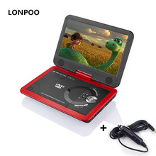 LONPOO DVD Player 10.1 Inch Screen Portable DVD Player Car Charger USB SD Card with Rechargeable Battery CD DVD Player APBAT