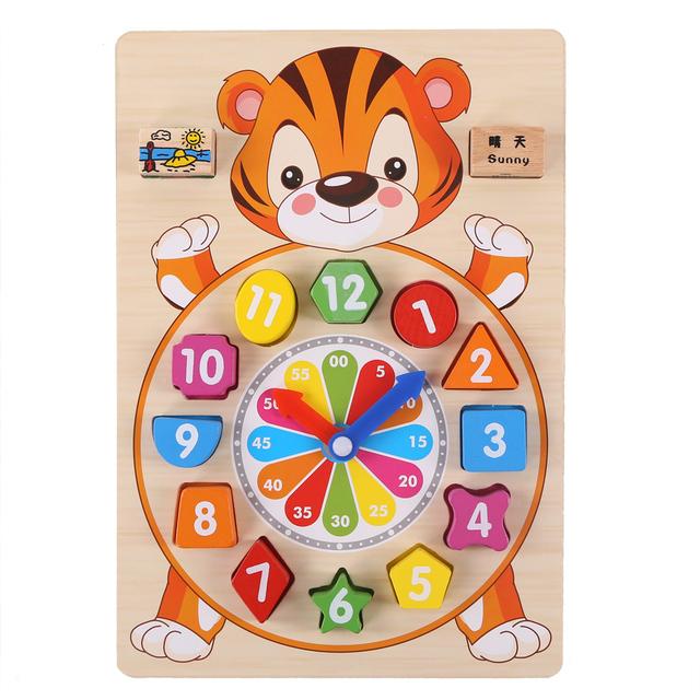 Kid's Cartoon Animals Wooden Clock Toy