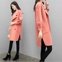 Winter Korean Overcoat Women 2019 Fashion Elegant Wool Blends Coat Office Lady Formal Long Sleeve Long Overcoat casaco feminino