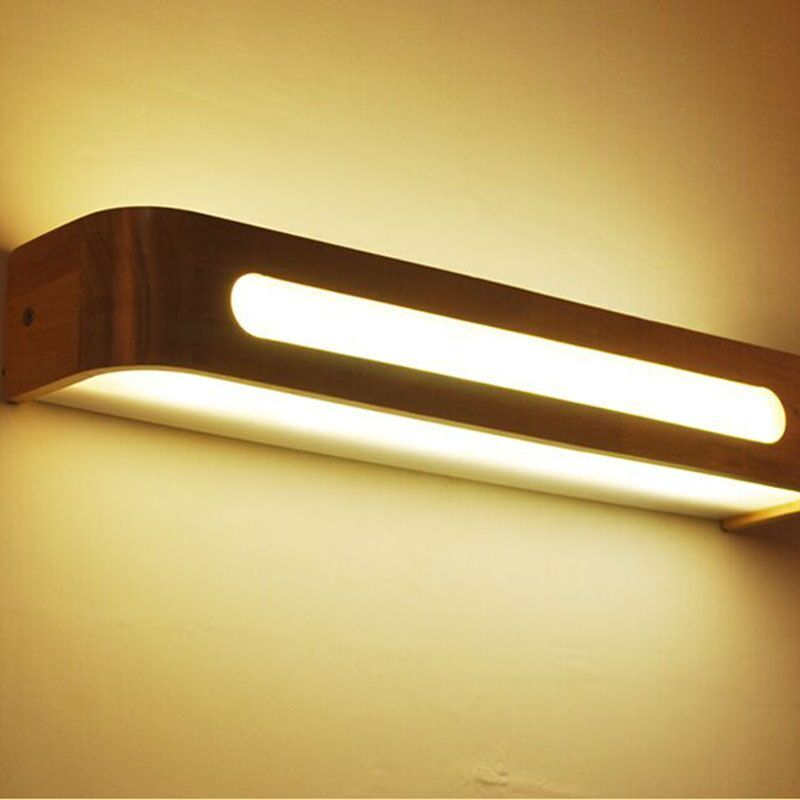 Modern Japanese Style Led Lamp Oak Wooden Wall Lamp Nordic