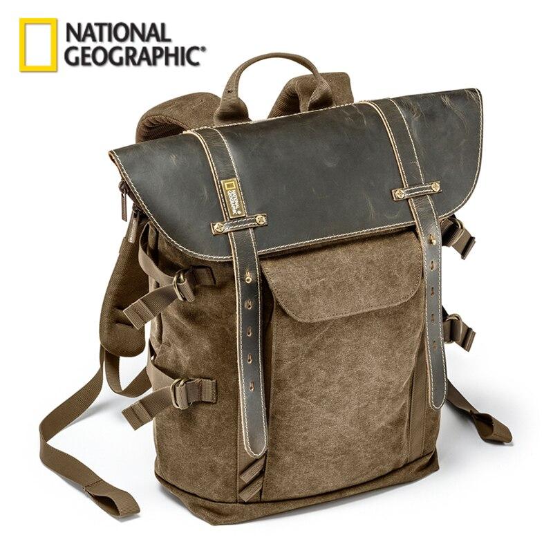 Venta al por mayor de la Colección Nacional Geográfica de África NG A5290 A5280 mochila para ordenador portátil SLR bolsa de lona bolsa de foto de cuero auténtico
