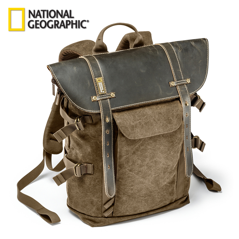 Wholesale National Geographic Africa Collection NG A5290 A5280 Laptop <font><b>Backpack</b></font> SLR Camera Bag Canvas Authentic <font><b>Leather</b></font> Photo Bag image