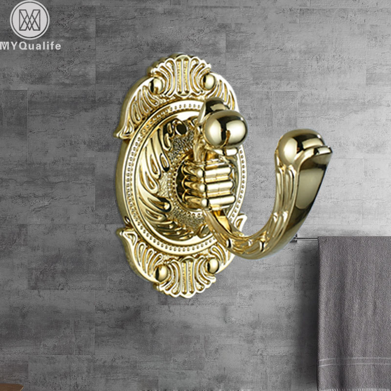 Luxury Golden Towel Hook Wall Mounted Robe /hat Hanger Holder Bathroom Rotation Tower Rack wall mounted 5 hook rack
