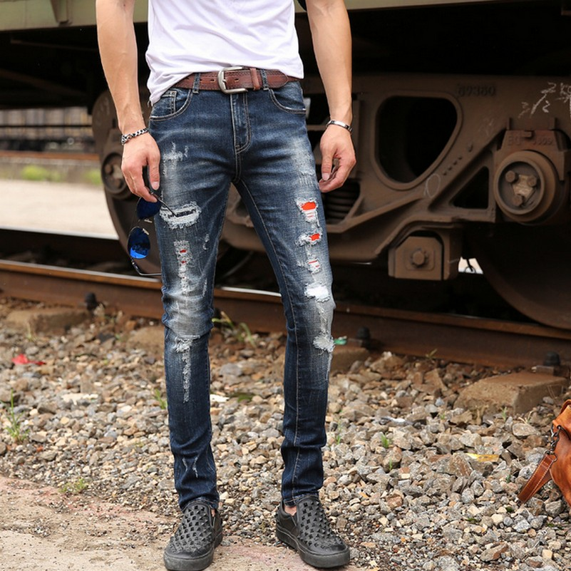 Hole Patchwork Fashion Ripped Jeans for Men Popular Autumn New Skinny Slim Fit Male Denim Pants Streetwear Jeans