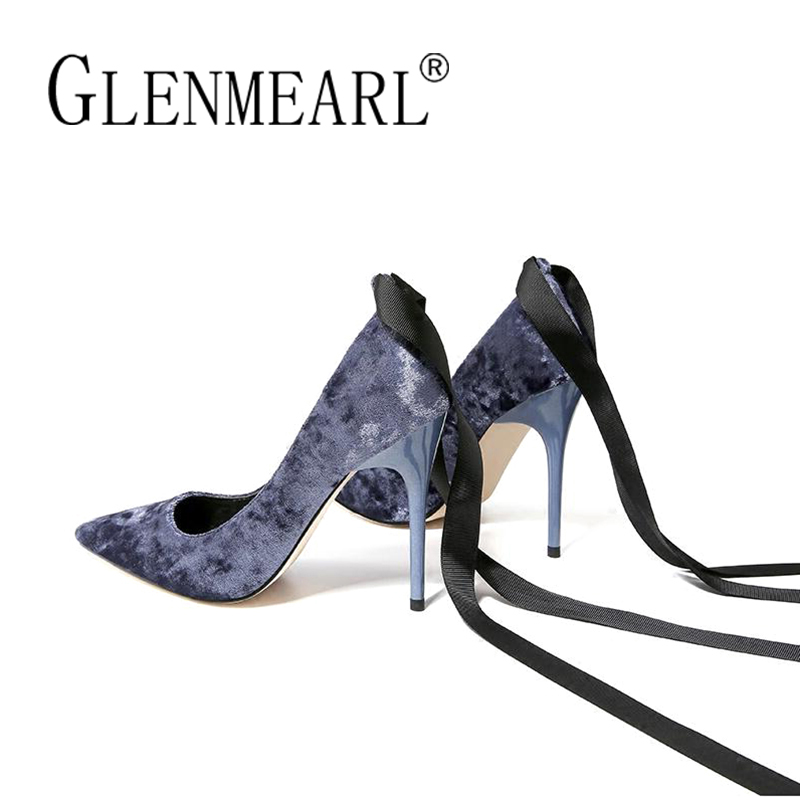 Brand Women Pumps High Heels Shoes Retro Velvet Thin Heels Pumps Spring Black Ankle Strap Pointed Toe Bowtie Party Shoes Woman