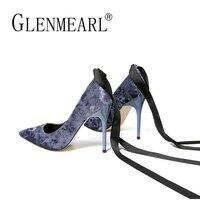 Brand Women Pumps High Heels Shoes Retro Velvet Thin Heels Pumps Spring Black Ankle Strap