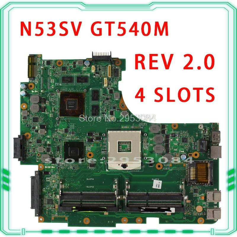 все цены на Original for Asus N53S N53SV Rev 2.0 4 slots GT540M USB3.0 2.0 N12P-GS-A1 HM65 PGA989 laptop motherboard 100% fully tested онлайн