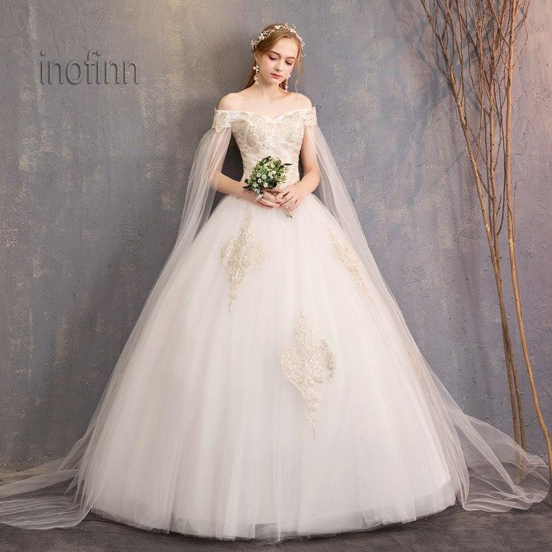 Inofinn spring and summer Lace Floor-Length wedding Wedding dress 2019 vestido de noiva wedding dress for women  bridal gown
