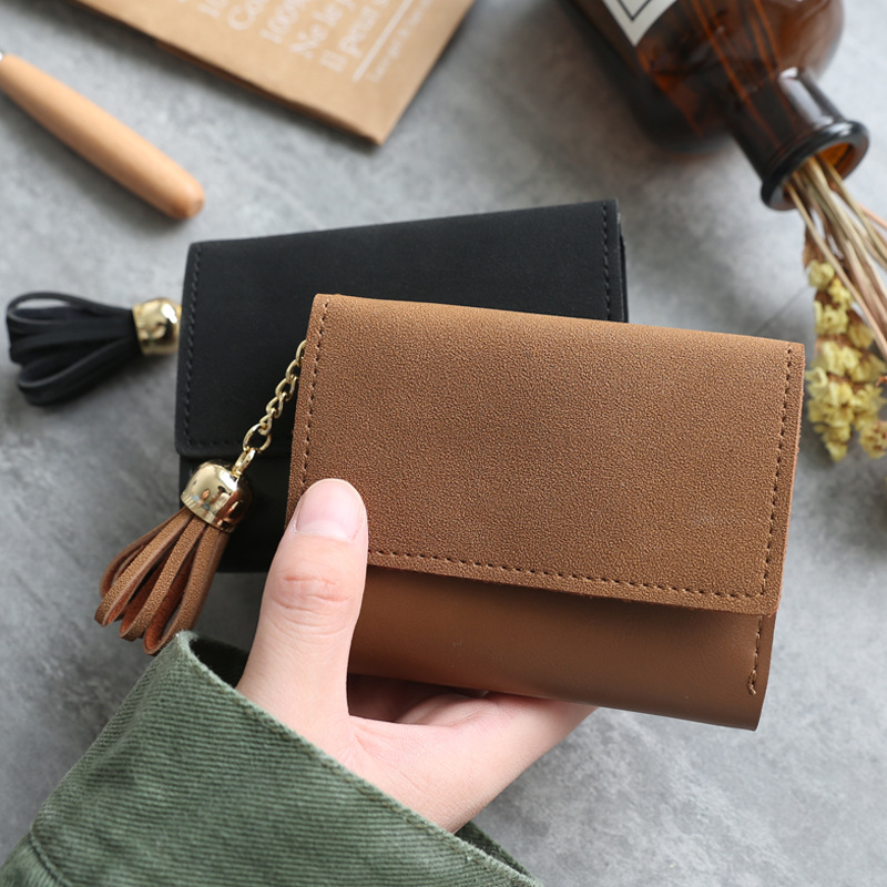 eTya New Womens Wallets and Purses Fashion Pu Scrub Wallet for Credit Cards Holder Tassle Small Clutch Female Purse Coin Bag hot sale womens corduroy small wallet holder coin purse clutch handbag bag coin purses wholesale de13