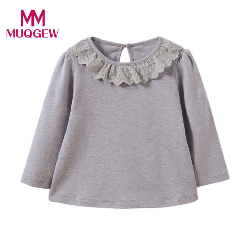 Hot Sale Baby Girls Long Sleeve Solid Lace T-Shirt Toddler Kids Tops T-Shirts Autumn Warm Clothes Children Girl Casual Shirts