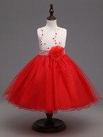 Baby Girls Pink Red Wedding Dresses For Little Girl Pearl Flower Girls Dresses Princess Dress Ballgown