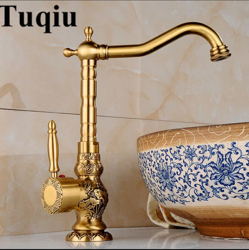 Basin Faucet Antique Brass Bathroom Faucet Basin Carving Tap Rotate Single Handle Hot and Cold Water