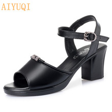 AIYUQI Sandals women new design 2019 fashion high heels sandal non-slip wearable summer sandals genuine leather