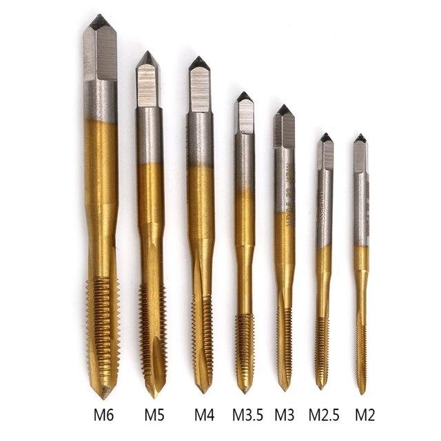 Hand tool titanium machine tap M2 / M2.5 / M3 / M3.5 / M4 / M5 / M6 HSS metric straight slot thread tap tap