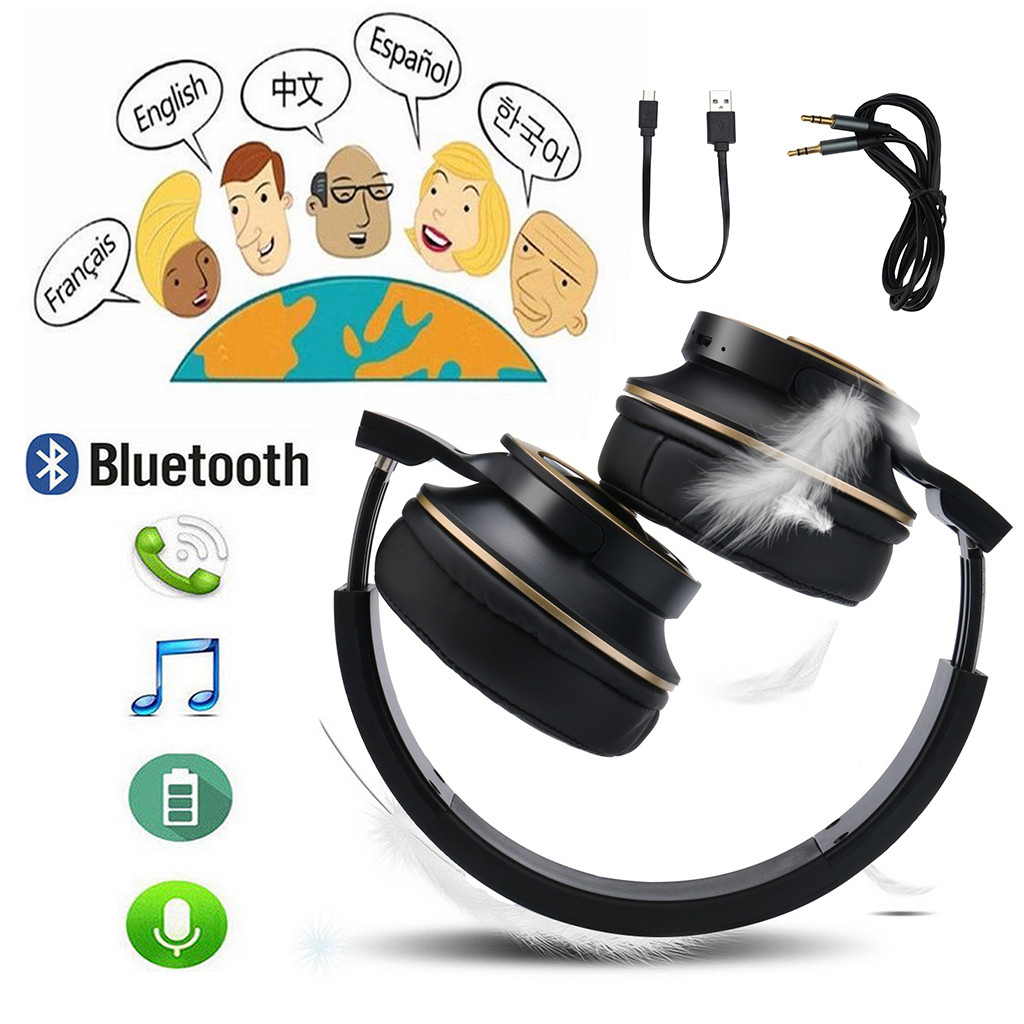 Wireless Bluetooth Headphones Foldable Stereo HI-FI Earphones Super Bass Headset Mic