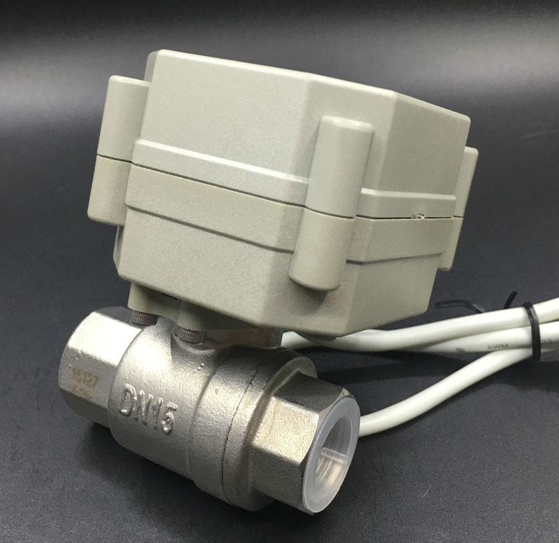 TF15-S2-C BSP/ДНЯО SS304 1/2 ''DC24V Электрический моторизованный шаровой клапан 2/3/5/7 провода ВКЛ/ВЫКЛ 5 сек Metal Шестерни Гарантия 2 года