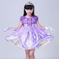 Purple Sofia Princess Dress 3 10 Years Girls Long Formal Party Dress Costume Short Sleeve Cute