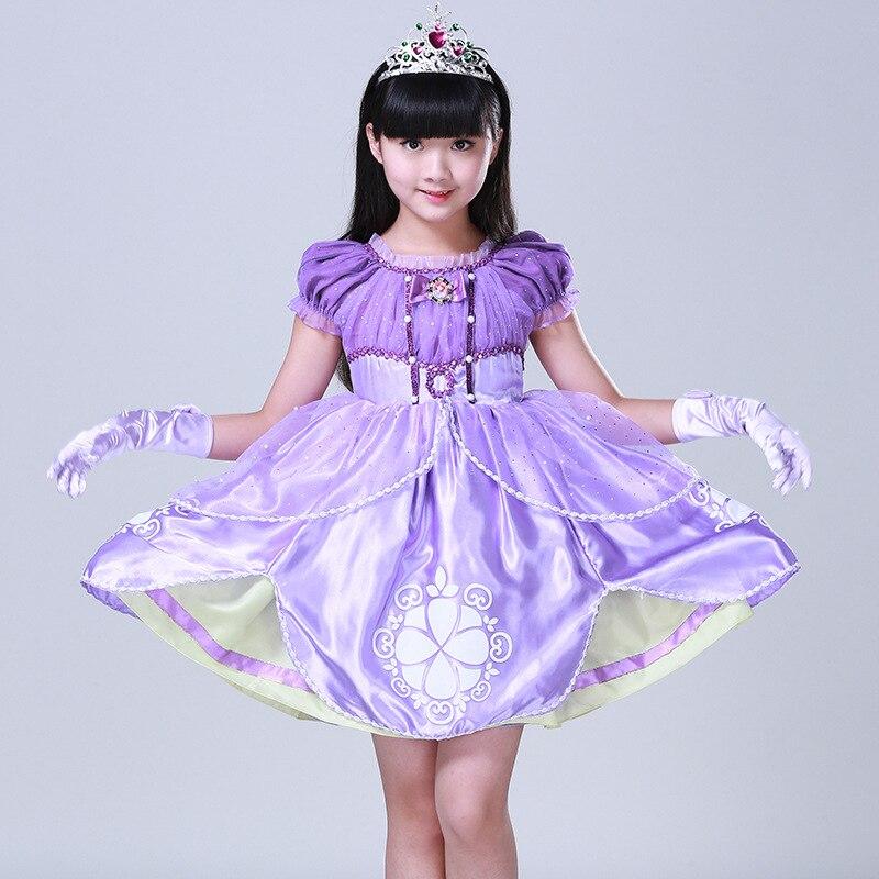 Purple Sofia princess dress 3-10 years girls long formal party dress costume short sleeve cute cosplay performance dresses kids