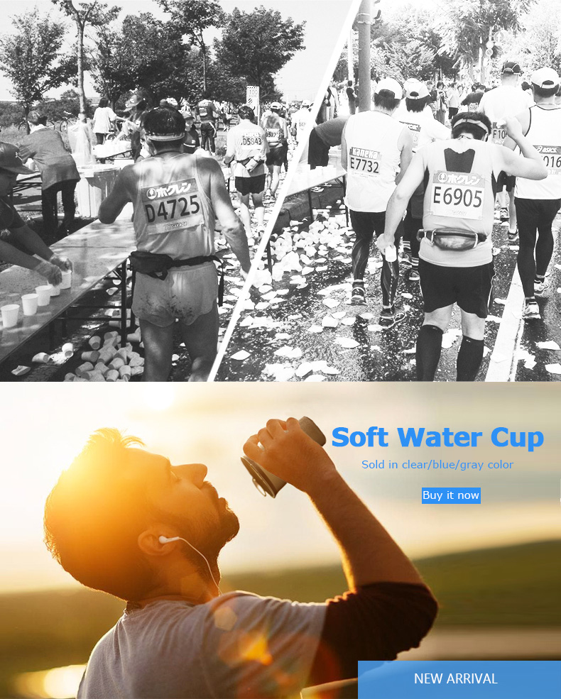 Foto during marathon water's flask folding TPU for sport. Collapsible flask of water 500ml for hiking