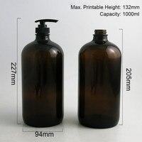 2 unids 1000 ml Grandes Recargables 33 Oz Ámbar Boston Redonda de Cristal líquido De Vidrio Botellas con Bomba de La Loción Negro 1000cc Botella de champú