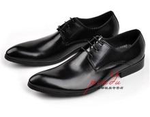 Новый черный острым носом дерби обувь мужская свадебные туфли натуральная кожа платье обувь мужская бизнес обувь
