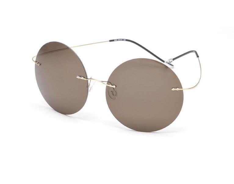Hippie de la vendimia sin rebordes titanium gafas de sol polarizadas los hombres diseñador de la