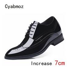 c2506addcf9 Cyabmoz Men Genuine leather Height Increasing Shoes Invisibly 7cm Carving  Man Business Dress Shoes Hidden Heels