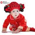 2017 de La Niña de Vestir de Otoño de Primavera de China Tang Estilo de Algodón Ropa de Niña de Manga Larga Bebé Recién Nacido Conjunto Ropa de Bebé recién nacido 2 unids