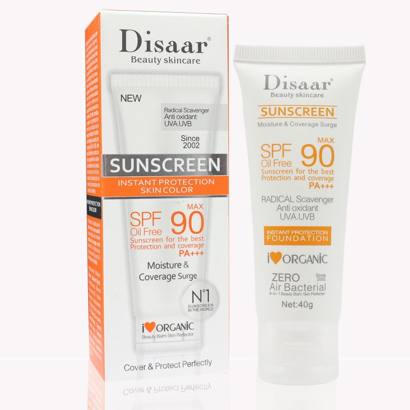 Body Care Facial Sunscreen Cream Spf 90 Oil Free Radical Scavenger Anti Oxidant UVA/UVB 40g Face Skin Care