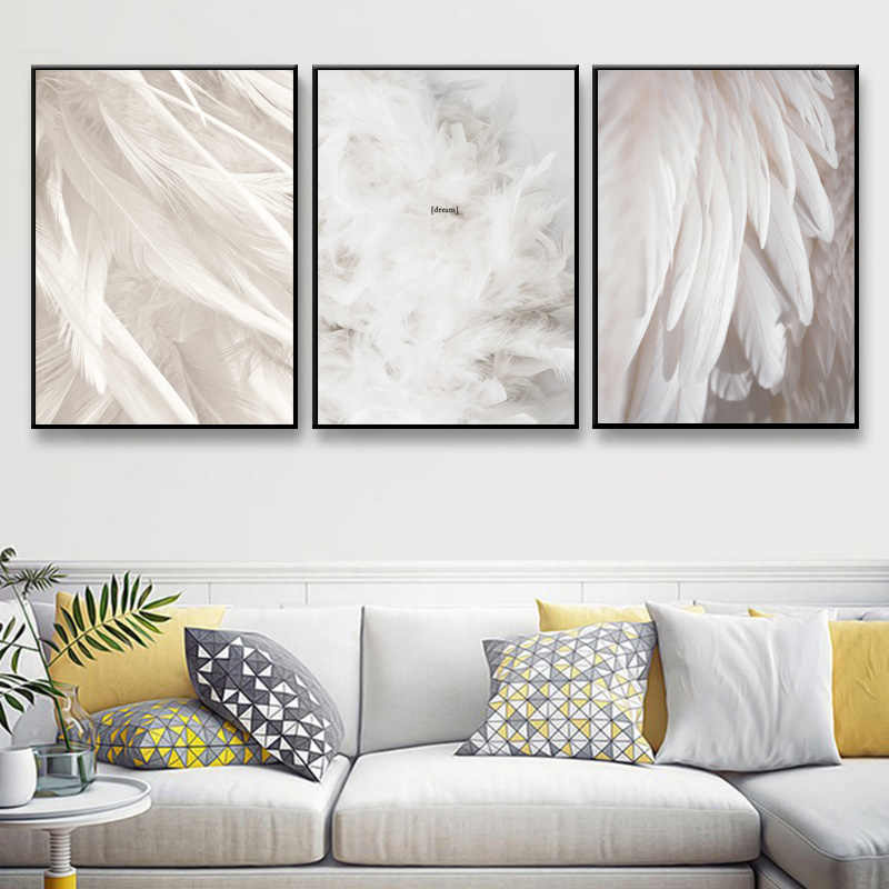 Nordic Poster Feather White Posters And Prints Picture Canvas Painting Abstract Painting Wall Pictures For Living Room Unframed
