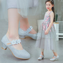 Girls  High Heel Princess shoes Korea Children s shoes Show Silver Leather  shoes Children s Crystal single girls dress shoes a75c3c51c7a0
