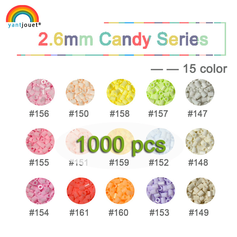 2.6mm yant jouet candy Beads 1000pcs 15colors Macarons kids hama beads perler beads diy Puzzles high quality Handmade gift toy