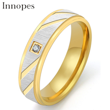 Innopes European and American fashion luxury ring simple personality  stainless steel  classic men gold  ring