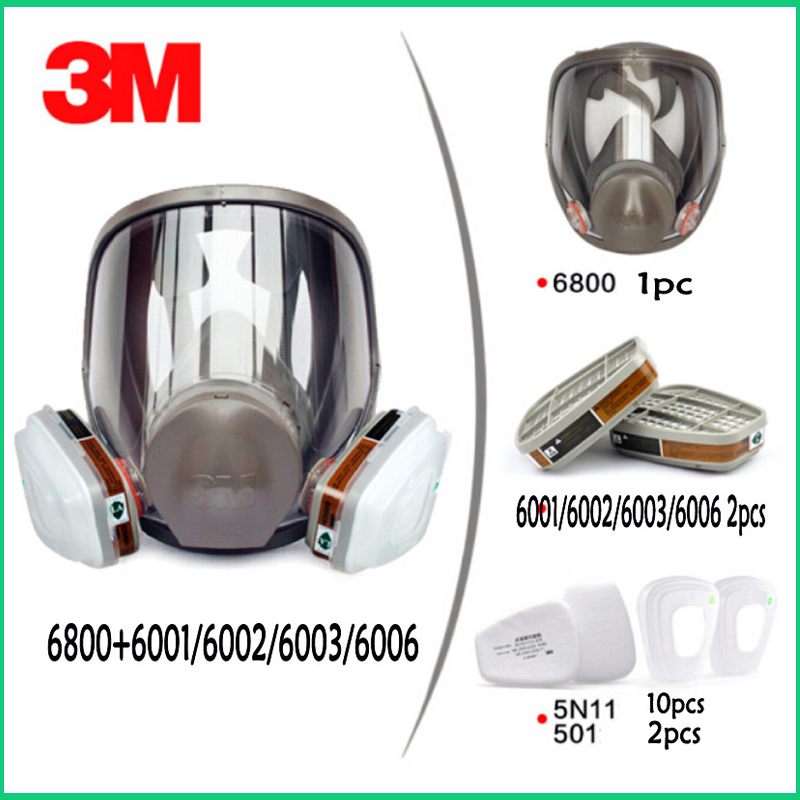 15 In 1 3M 6800 Painting Spray Gas Mask Organic Vapors Safety Respirator Full Facepiece Protection Welding Respirator