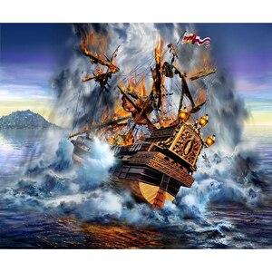 5d diy pintura diamante bordado artesanal quadrado completo strass navio pirata ponto cruz casamento decorationBK-3770