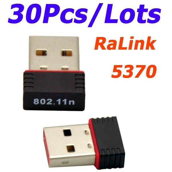 Vente en gros 30 pièces/lot Ralink 5370 150Mbps sans fil Mini WiFi USB adaptateur LAN carte réseau adaptateur pour SKYBOX/Openbox/STB